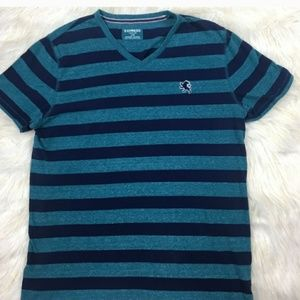 Mens Express V-Neck Tee Stripe T-Shirt MEDIUM